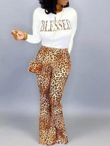 Brown Leopard Blessed Print Flare Bell Bottom Two Piece Casual Long Jumpsuit