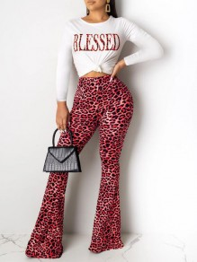 Pink Leopard Blessed Print Flare Bell Bottom Two Piece Casual Long Jumpsuit