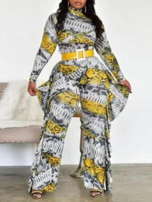 Yellow-White Patchwork Irregular Ruffle One Piece Wide Leg Banquet Party Long Jumpsuit