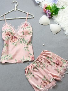Pink Patchwork Lace Satin Floral Spaghetti Strap 2-in-1 Shorts Pajamas Sets Jumpsuit Sleepwear