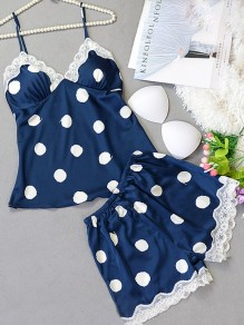 Blue Polka Dot Pattern Lace Two Piece Elegant Short Jumpsuit