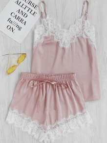 Pink Patchwork Lace Two Piece Sleepwear V-neck Elegant Short Satin Pajamas Set