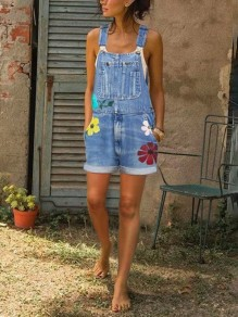Blue Flowers Print Pockets High Waisted Overall Pants Long Denim Dungarees Short Jumpsuit
