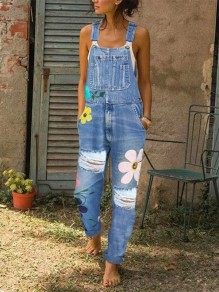Blue Flowers Print Pockets Ripped High Waisted Overall Jeans Long Denim Dungarees Jumpsuit