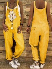 Yellow Patchwork Pockets One Piece Overall Pants Elegant Long Jumpsuit