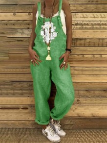 Green Patchwork Pockets One Piece Overall Pants Elegant Long Jumpsuit