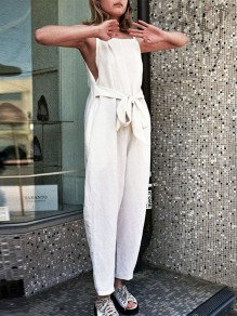 White Patchwork Belt Trendy Overall Pants Fashion Long Jumpsuit