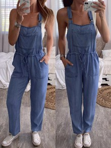 Blue Patchwork Pockets Drawstring Waist Overall Pants Fashion Long Jumpsuit