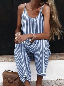 Blue White Striped Pattern One Piece Fashion Long Jumpsuit