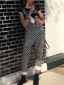 Black White Plaid Checked Pockets Cargo Fashion Overall Long Jumpsuit Pants