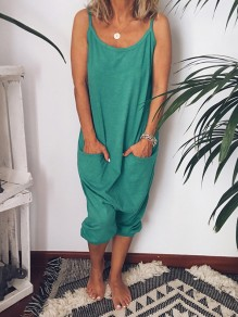 Green Pockets Backless Comfy Round Neck Sweet Jumpsuits