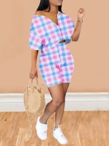 Pink-Blue Plaid Pattern Half Sleeve One Shoulder Two Piece Short Jumpsuit