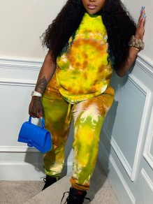 Yellow Tie Dyeing Drawstring Two Piece Pockets High Waisted Casual Sports Long Jumpsuit