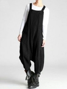 Black Patchwork Draped Streetwear Overall Pants Fashion Long Jumpsuit