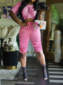 Pink Pleated Drawstring Two Piece Round Neck Short Sleeve Scrunch Casual Sports High Waisted Short Jumpsuit