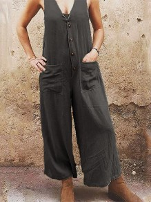 Dark Grey Patchwork Pockets Single Breasted Fashion Overall Pants Long Jumpsuit