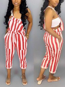 Red-White Striped Drawstring Plus Size Cute Overall Nine's Jumpsuit