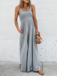 Light Grey Patchwork Wide Leg Overall Pants Fashion Jumpsuits