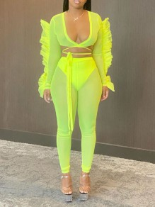 Neon Green Patchwork Grenadine Ruffle Two Piece V-neck Bodycon Sheer Party High Waisted Long Jumpsuit