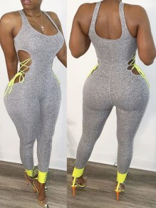 Grey Cut Out Lace-up Spaghetti Strap Bodycon Casual Sports High Waisted Long Jumpsuit