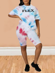 White Letter Pattern Tie Dye Half Sleeve Two Piece Casual Short Jumpsuit
