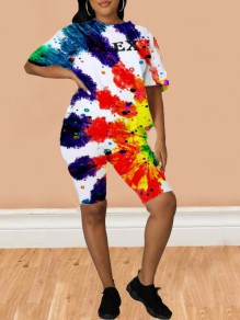 Red Letter Pattern Tie Dye Half Sleeve Two Piece Casual Short Jumpsuit