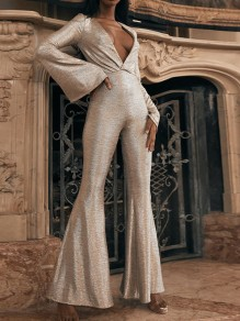 Silver Bright Wire Deep V-neck Bodycon Sparkly Glitter Birthday Bell Bottomed Flares Long Jumpsuit