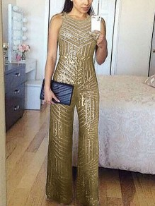 Golden Patchwork Sequin Sparkly Glitter Birthday Party Wide Leg Palazzo Long Jumpsuit