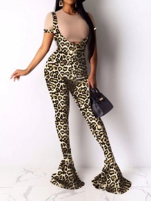 Leopard Print Two Piece Bodycon Party Overall Bell Bottomed Flares Long Jumpsuit
