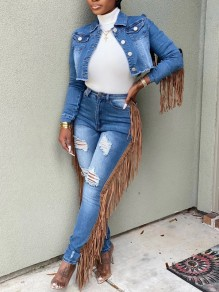 Light Blue Buttons Pockets Tassel Distressed Ripped Two Piece Denim Casual Long Jumpsuit