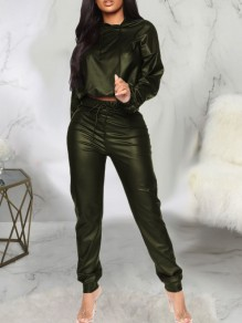 Army Green Drawstring Two Piece PU Leather Latex Rubber Casual Long Jumpsuit
