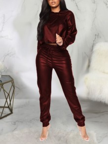 Burgundy Drawstring Two Piece PU Leather Latex Rubber Casual Long Jumpsuit