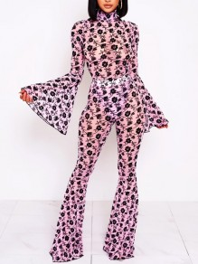 Pink Floral Bodycon Two Piece Bell Sleeve Bell Bottomed Flares Party Long Jumpsuit