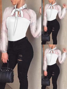White Patchwork Grenadine Bow Bodycon Comfy Ttrendy Fashion Jumpsuit