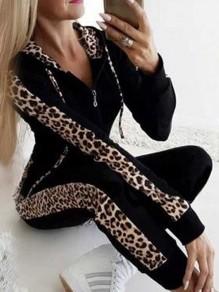 Black Patchwork Drawstring Pattern Zipper Going out Jumpsuit