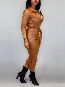Brown Zipper Belt Pu Leather Buckle Latex Turndown Collar One Piece Long Jumpsuit