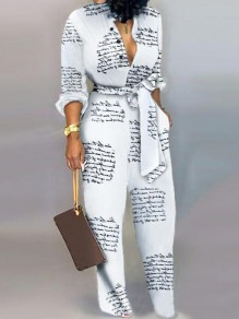 White Monogram Newspaper Print Sashes Pockets One Piece Wide Leg Long Jumpsuit