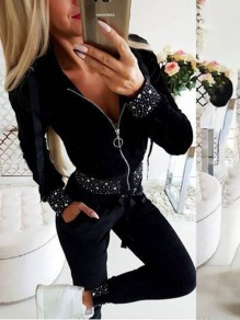 Black Patchwork Rhinestone Zipper Pockets Glitter Bodycon Going out Jumpsuit