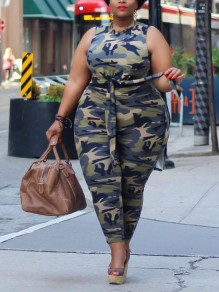 Camouflage Belt Bodycon Two Piece Plus Size Casual Long Jumpsuit