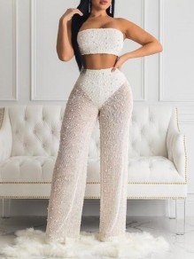 White Patchwork Pearl Bandeau Off Shoulder Backless Sheer Two Piece Fishnet Long Jumpsuit