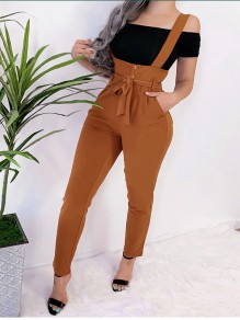 Khaki Pockets Belt Shoulder-Strap Comfy Fashion Jumpsuit