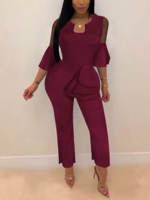 Burgundy Cascading Ruffle Bodycon Elegant Party Long Jumpsuit