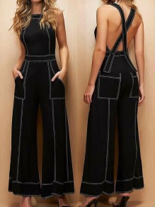 Black Patchwork Cross Back Shoulder-Strap Sleeveless High Waisted Fashion Jumpsuits