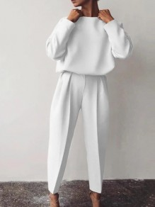 White Patchwork 2-in-1 Ttrendy Long Sleeve Elegant Long Jumpsuit