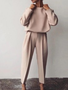 Pink Patchwork 2-in-1 Ttrendy Long Sleeve Elegant Long Jumpsuit