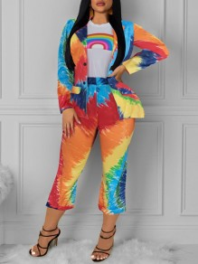 Multicolor Rainbow Print Tailored Collar V-neck Long Sleeve Blazer Two Piece High Waisted Seven's Jumpsuit