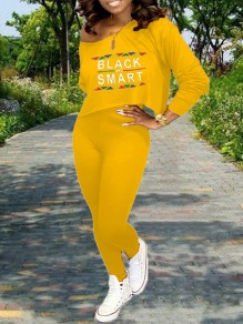 """Yellow Monogram """"BLACK AND SMART"""" Print Off One Shoulder Long Sleeve Two Piece High Waisted Casual Long Jumpsuit"""