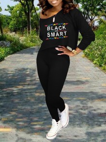 """Black Monogram """"BLACK AND SMART"""" Print Off One Shoulder Long Sleeve Two Piece High Waisted Casual Long Jumpsuit"""