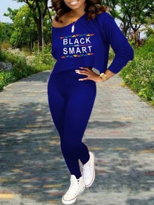 """Blue Monogram """"BLACK AND SMART"""" Print Off One Shoulder Long Sleeve Two Piece High Waisted Casual Long Jumpsuit"""