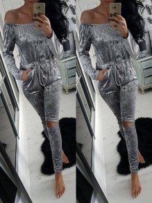 Grey Pockets Comfy Casual Going out Modern Long Jumpsuit
